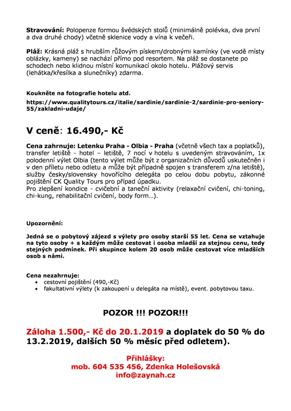 Sardinie 29.5.-5.6.2019