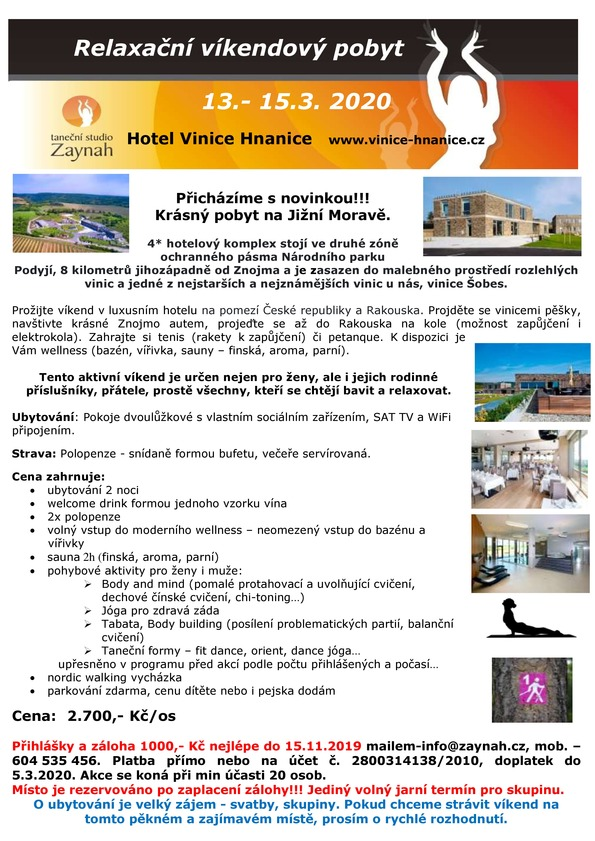 Relaxační víkend na Jižní Moravě březen 2020