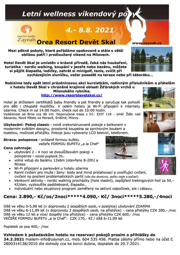 Letní wellness víkend – Milovy srpen2021
